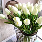 20 Stück Tulpe künstliche Blume Latex Real Touch Bridal Wedding Bouquet Home Decor (Weiß)