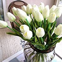 20pcs Tulip novia boda ramo de flores de látex Real Touch flores artificiales decoración del hogar