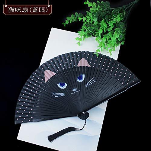Dance Kostüm Cat - XIAOHAIZI HandfächerFächerFoldingFans Vintage Chinesischen Klassischen Faltfächer, Geschenk Dance Fan Von Animal Cat Craft Womens