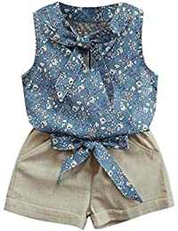Ropa niña Bebé Verano ❤️ Amlaiworld Niños pequeños Bebé niñas Floral Bowknot chaleco camiseta + pantalones cortos trajes conjunto de ropa 2 Años - 7 Años (Azul, Tamaño:3-4 Años)
