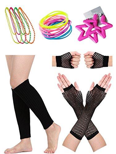 behör Beinwärmer Handschuhe Thema Party Set (Fischnetz Leggings Kostüm)