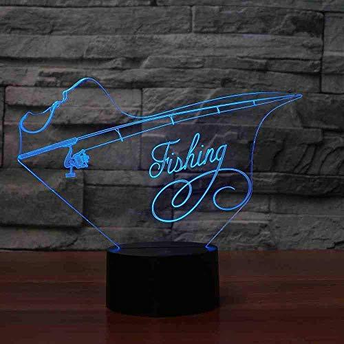 3D Led Angelrute Modellierung Tischlampe USB 7 Farben Veränderbar Schlaf Beleuchtung Schlafzimmer Dekor Acryl Nachtlicht Enthusiasten Geschenke