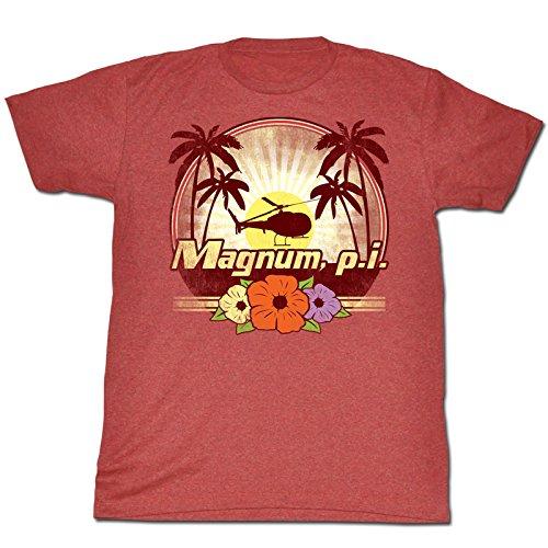 Magnum P.I.-Maglietta da uomo, motivo: fiori, colore: rosso mélange rosso ardesia Large