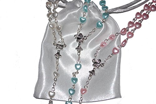 Beautiful-Heart-Rosary-Beads-Girls-Boys-Gift-Perfect-First-Rosary-Baptism-Christening-Communion-or-Confirmation-Present-Excellent-Quality-Five-Decade-Heart-Shaped-Rosary-bead-set-supplied-with-FREE-wh