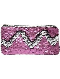 Prime Prime Mermaid Sparkling Bling Cosmetic Cases, Glitter Handbags For Women And Girls Light Pink, 20 Gram,...