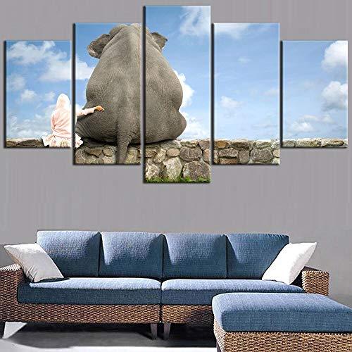 mmwin Impresión de 5 Piezas de Imagen del Paisaje del Cielo Elefantes...