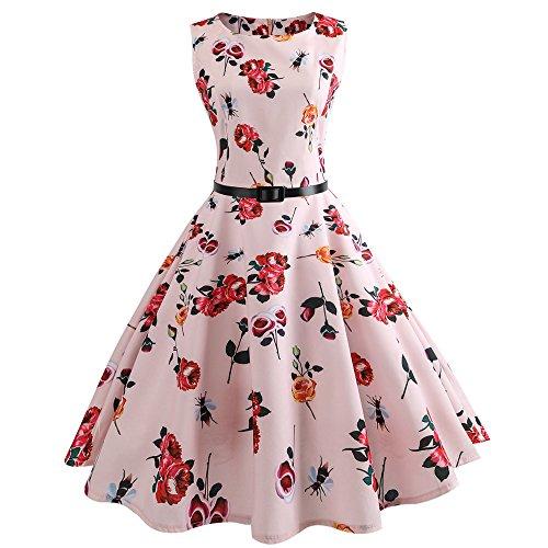 (TEBAISE Sommerkleid 1950er Jahre Rockabilly Damen Vintage Blumendruck Bodycon Ärmellos Casual Abend Prom Swing Party Kleid Röcke Petticoat mit Gürtel Karneval Cocktailkleider)