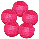 Just Artifacts - Criss Cross Paper Lanterns (Set of 5, 16inch, Magenta Pink) - Click for More Colors & Sizes