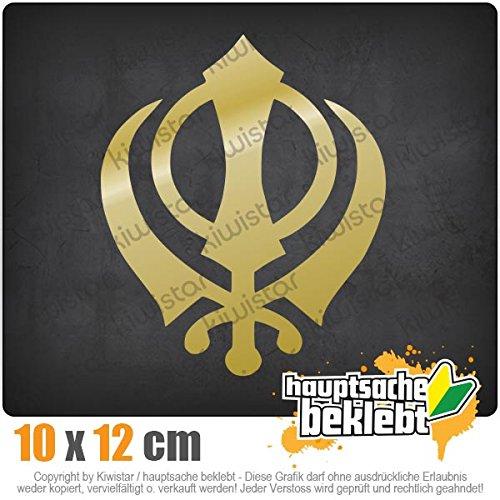 Khanda Sikhismus 10 x 12 cm IN 15 FARBEN - Neon + Chrom! Sticker Aufkleber