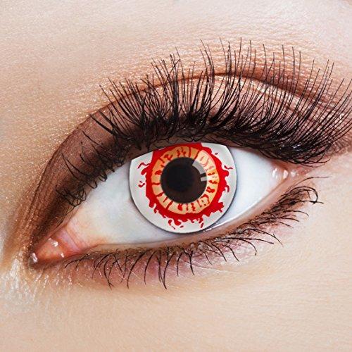 aricona Kontaktlinsen rot zum Zombie Kostüm / weiche farbige Jahreslinsen