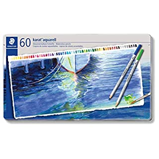 Staedtler Karat Aquarell 125 Professional Watercolour Pencils Tin - Assorted Colours (Set of 60)
