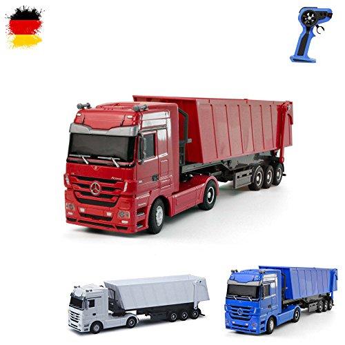 Mercedes-Benz Actros - RC ferngesteuerter LKW mit Kipper, Truck, Fahrzeug, Motorsound, LED's, Komplett-Set ink. Fernsteuerung (Bau-lkw)