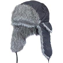 Gorro de aviador de estilo ruso negro gris lobo, color , tamaño XL