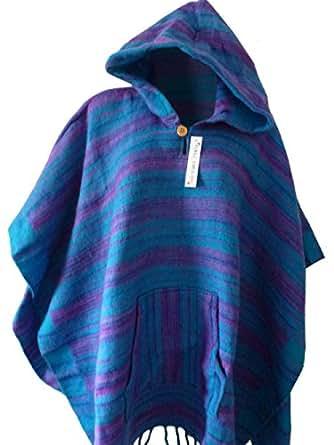 Pull à capuche rayé unisexe style mexicain Couleur Bleu sarcelle
