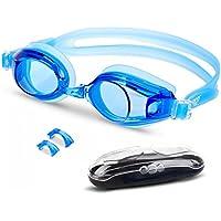 EVEREST FITNESS occhialini da nuoto con lenti anti appannamento, in silicone flessibile con astuccio compreso| 2 anni di garanzia di soddisfazione