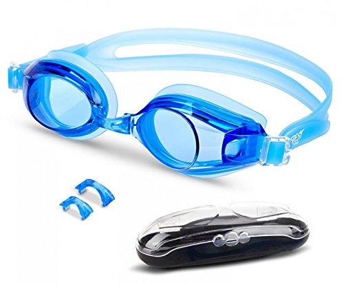 EVEREST FITNESS Schwimmbrille mit Antibeschlag-Schutz und praktischer Aufbewahrungsbox, größenverstellbar und extra dicht