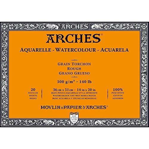 Arches 1795088 Aquarellpapier im Block (36 x 51 cm, 4-seitig geleimt, 300g/m² Grobkorn) 20 Blatt naturweiß