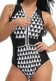 Monokini Mujer Push-up con Cuello en V con Relleno Acolchado Traje de Baño de Una Pieza Bikini,Negro,Small