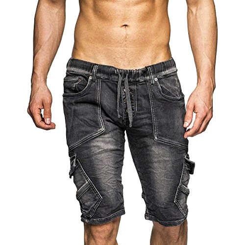 Stonewashed Denim Shorts (MEGASTYL Sweatshorts Streetwear-Style mit Asymmetrischen Taschen, Größe:30, FARBE:Anthrazit)
