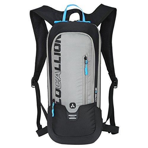 LOCAL LION Fahrradrucksack Skirucksack klein für Damen & Herren 6L Ultraleicht wasserdicht mit Trinksystem für Trinkblase bis 2L - Ideale zum Skifahren | Radsport | Camping grau