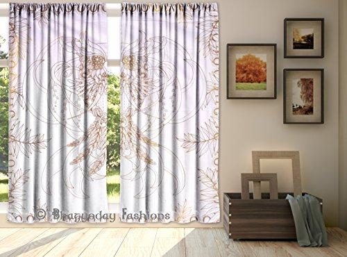 Exclusive Indian Tribal Eule Feder Print Fenster Vorhang, Bohemian Mandala Wohnheim eingerichtet, Drapes Portiere, Schal Volants, Wand-Vorhang, Fenster Baumwolle Behandlung Panel Set