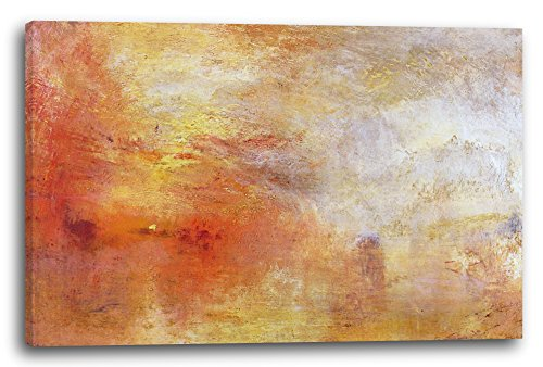 Printed Paintings Leinwand (120x80cm): William Turner - Sun Setting Over a Lake