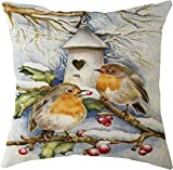 SHUCHANGLE (2pcs/Set) Kreativer Netter Kleiner Vogel-Baum-Muster-Leinenkissenbezug Passend Für Wohnzimmer-Sofa