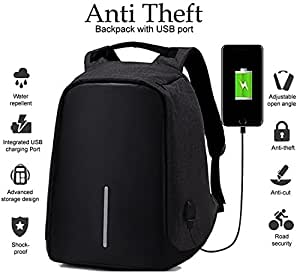 Deals Outlet Polyester 15-inch Black Casual Backpack with Inbuilt USB Charging Port