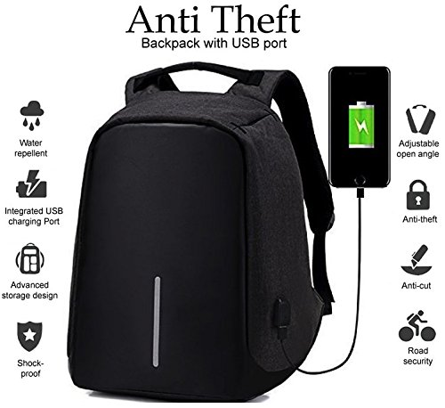 Deals Outlet Anti Theft Backpack USB Charging Port 15 inch Laptop Bag School College Office Waterproof Casual Bagpack Men Women Unisex Storage Notebook Books Tablet Camera Mobile Phone