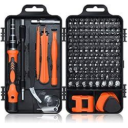 Gocheer 115 en 1 mini set tournevis precision kit tools petit boite tournevis torx informatique demontage pc portable pour macbook,iphone,réparation,lunettes,bricolage,montre,smartphone ... (Orange)