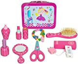 Wooden Childrens Hairdressers Vanity Case Beauty Set In Tin Carry Case