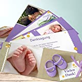 Geburts Danksagungskarten, Schühchen 200 Karten, Kartenfächer 210x80 inkl. weiße Umschläge, Lila