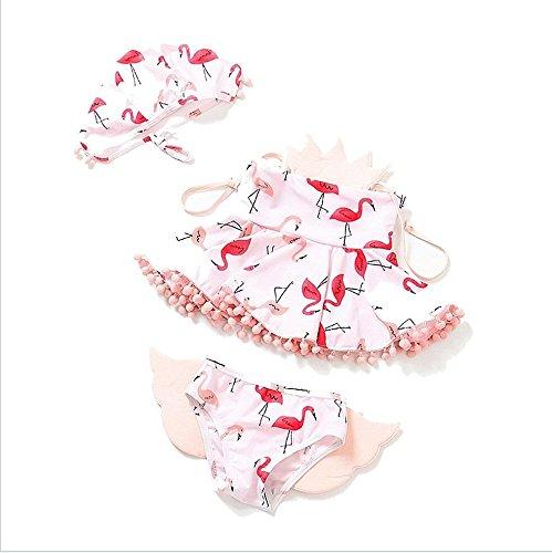 SHRCASE-SWBI Kleinkind Sommer Strand Bikini Set Little Girls Cute 3ST Badeanzug Blumendruck Bikini Set Schwimmen Kostüm Badeanzug Bademode (Größe : 110)
