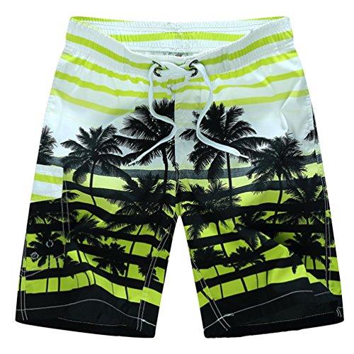 Niseng Homme Maillot De Bain Board Shorts Impression Plage Short Surf Board Shorts Jaune