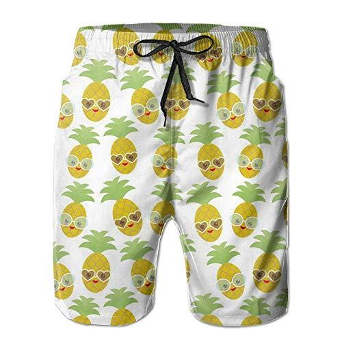 sheho Kawaii Ananas Gesicht mit Sonnenbrille Herren Strand Shorts mit Taschen Quick Dry Summer Shorts Badehose,Größe M