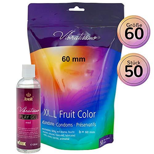 """AMOR Vibratissimo\""""Meine Größe 60 mm FRUIT COLOR\"""", Set aus 50 Kondomen und 250ml Gleitgel, verschiedene Farben und Aromen"""