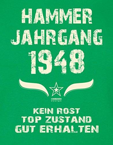 Geschenk zum 69. Geburtstag :-: Herren Geburtstags-Sprüche-T-Shirt :-: Hammer Jahrgang 1948 Farbe: hellgrün :-: Geburtstagsgeschenk Männer :-: Hellgrün