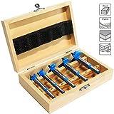 S&R Forstner Bohrer Set für Holz 5-tlg.: 15, 20, 25, 30, 35 mm in Holzbox, geschmiedeter Werkzeugstahl, Rundschaft-Aufnahme, hochwertige Hartmetallschneiden