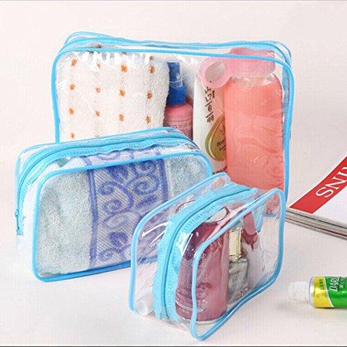 Kleine Grenze (Dosige 3 Stück Kosmetiktasche Transparent Wasserdicht Kulturtasche Make-Up Taschen für Outdoor Reise Groß Mittel Kleins Blau Grenze)