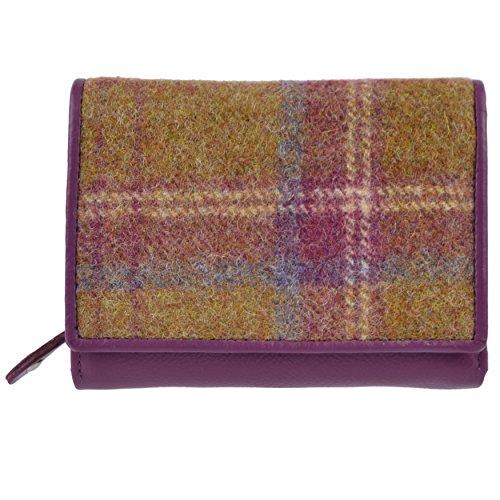 Damen Kompakt Tri-Fold Leder Geldbörse MALA Abertweed Kollektion Wolle, Pink - Magenta - Größe: (Geldbörse Magenta Leder)