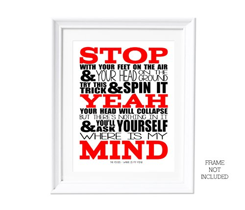 Song Lyrics A3 Pixies Where Is My Mind Artwork Wall Art Typography Poster Print
