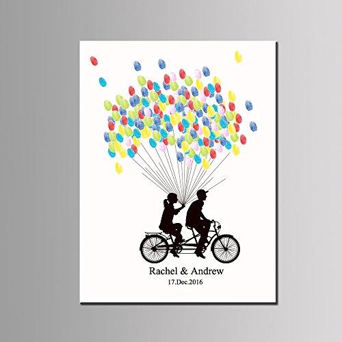 Fahrrad Fingerabdruck Unterschrift Segeltuch Braut Bräutigam Gästebuch DIY Paar Paar Gemälde Anmelden Ballon Daumenabdruck Personalisiert Angepasst Geburtstag Party Dekoration,40 * 60Cm