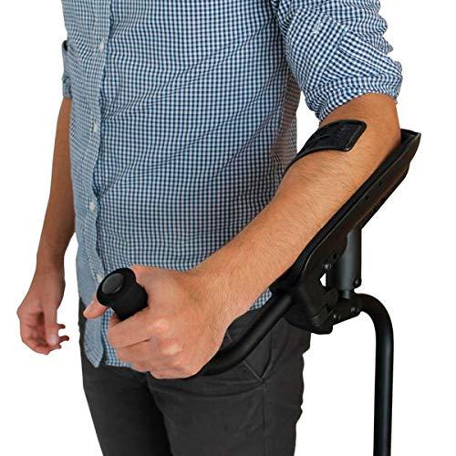 KMINA - KMINA PRO Krücken, Gehhilfe krücken für Senioren, Gehilfen krücken Unterarmstütze mit Stoßdämpfungssystem für mehr Komfort, Linkes Exemplar