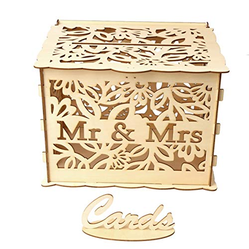 Noradtjcca Wooden Wedding Supplies Mr. DIY und Mrs. Put Visitenkartenbox groß (Schlüssel +12 Gummiring) Home Holzdekorationen Key Log
