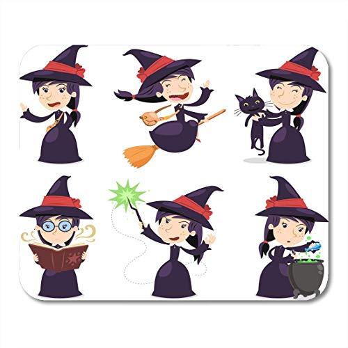 Luancrop Mauspads Halloween-Kostüm-Hexe mit dem Tragen des schwarzen Kleides mit Katze mit magischem Stab-Topf-Zeichentrickfilm-Figur-Besen-Mausunterlage für Notizbücher, - Einfache Office Halloween Kostüm