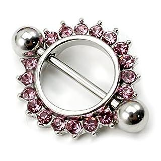 Arpoador 2X Fashion Body Piercing Jewelry Barbell Nipple Ring/Shield Sun Flower With Diamond(Pink)