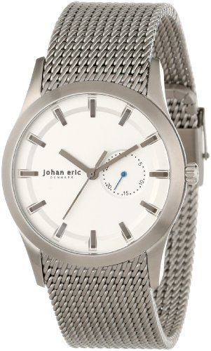 Johan Eric je1300–04–001agersø del hombres Dial de plata de acero inoxidable FECHA reloj de pulsera de malla