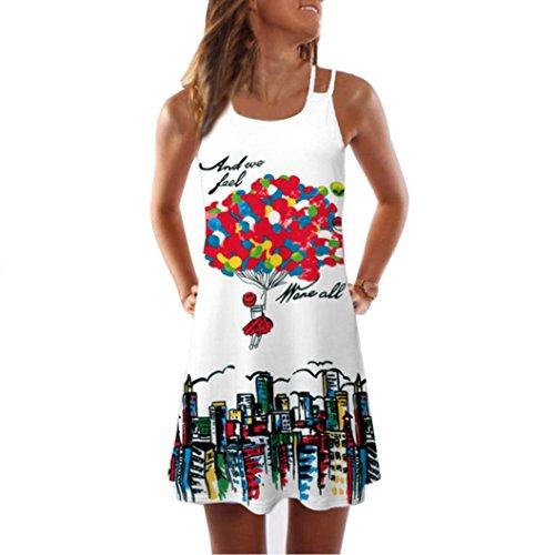 Kleid Damen,Binggong Frauen Lose Sommer Vintage ärmellose 3D Blumendruck Bohe Tank Short Mini Dress Sling Abendkleid Reizvoller Casual Rock Hot (L, Weiß 6)