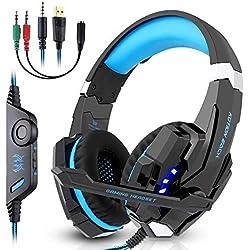 Casque Gamer LESHP Micro Casque PS4 Gaming, Casque Gaming avec Micro pour PC PS4 Xbox et Switch(Bleu)