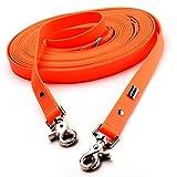 PetTec Schleppleine 10m aus Trioflex™, Orange, Wetterfest, Wasserabweisend, Robuste Hundeleine